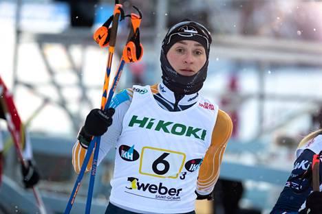 Ampumahiihtäjä Nastassia Kinnunen pääsee tällä viikolla tositoimiin kilpailutauon jälkeen. Kuva on vuodelta 2019.