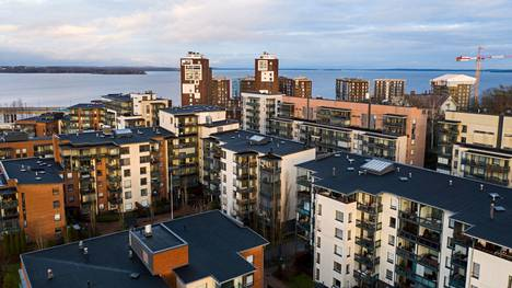 Tampereen asuntokunnilla oli vuonna 2019 asuntovelkaa yhteensä 3,6 miljardia euroa. Kuvassa Tampella tammikuussa 2020 on yksi esimerkki alueista, jonne on rakentunut viime vuosina runsaasti uusia asuntoja.