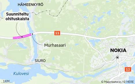 Pirkanmaan ely-keskus on tehnyt suunnitelmaa ohituskaistan rakentamiseksi Murhasaaresta Porin suuntaan.