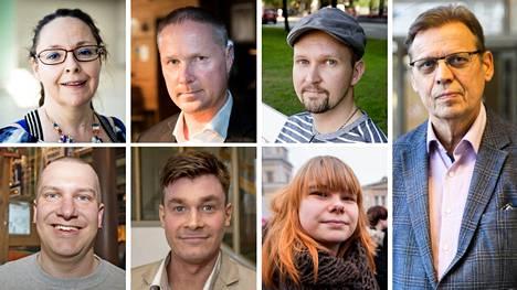 Nämä seitsemän ovat istuneet jokaisen Tampereen valtuuston kokouksen alusta loppuun: ylhäältä vasemmalta Aila Dündar-Järvinen, Lassi Kaleva, Kalle Kiili, Lauri Lyly ja alhaalta vasemmalta Ilkka Porttikivi, Ilkka Sasi ja Noora Tapio.