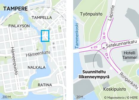 Liikenneympyrä sijoittuisi Satakunnankadun, Lapintien ja Rongankadun risteykseen. Nykyisin risteyksessä on liikennevalo-ohjaus.