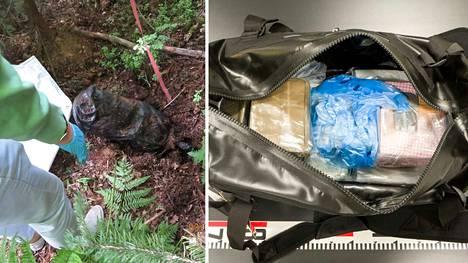 Poliisi löysi tutkinnassa kassillisen huumeita maastokätköstä.