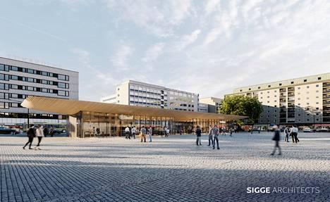 Tältä tuleva torirakennus näyttää Sigge Arkkitehdit Py:n havainnekuvissa.