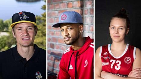 Antero Lehdon (vas.) BC Nokian sekä Shawn Hopkinsin (kesk.) ja Jemina Vidgrenin Pyrinnön joukkueet nähdään syyskuussa ja lokakuussa Aamulehden verkkosivuilla.