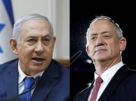 epa07489854 (FILE) - A combo photo shows Benjamin Netanyahu (L) attends the weekly cabinet meeting at his office in Jerusalem, 16 December 2018, (issued 07 April 2019) and   Benny Gantz, former Israeli army chief of staff and candidate for prime minister of the Blue and White Israeli centrist political party speaking during an election campaign in Tel Aviv, Israel, 19 February 2019 (issued 07 April 2019). According to media reports polls  predicting a tight result between Netanyahu and Gantz. Israel will go to the polls on 09 April 2019.  EPA/ABIR SULTAN  BY: ALL OVER PRESS / EPA-PHOTO CODE: EPAXX8