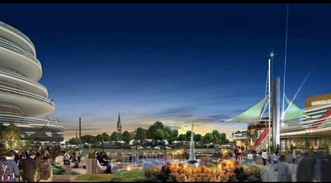 Tältä näytti Porin jokimaisema Jyrki Kankaan Pori New City -visiossa.
