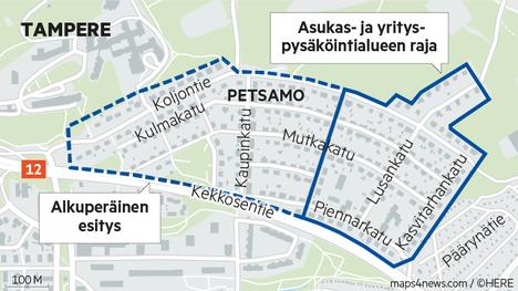 Alkuperäisessä esityksessä pysäköintiä rajoitettiin koko Petsamossa. Palautevyöryn jälkeen alue kutistui Petsamon itäosaan.
