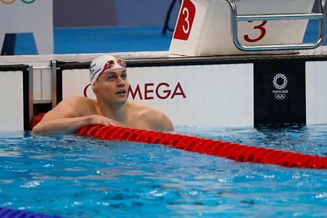 Ari-Pekka Liukkonen perjantaina päämatkansa jälkeen. Uimarilla on ollut vaikeuksia valmistautua olympialaisiin.