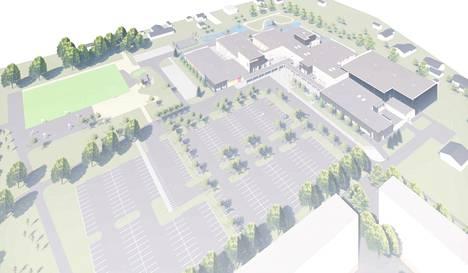 Suunnitelmassa Itätuulen liikuntapaikkaa Sampolassa reunustavat vain puut. Todellisuudessa verkkoaita varmistaa pallojen pysyvän alueella ja moottoriajoneuvojen pysyvän alueen ulkopuolella. Liikuntapaikka näkyy kuvassa vasemmalla ylhäällä.