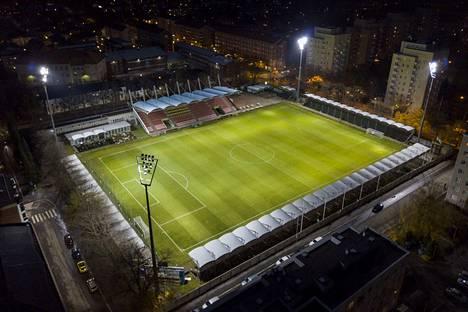 Tältä Tammelan stadion näytti ilmasta kuvattuna keskiviikkona alkuillasta.