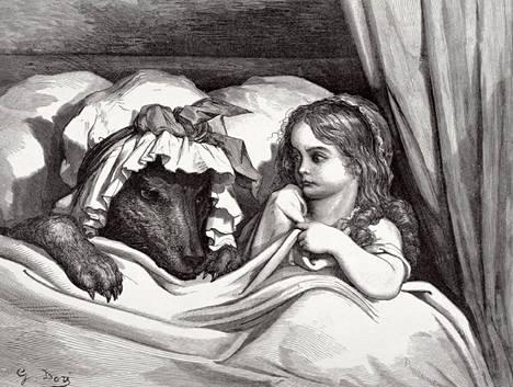 Grimmin veljesten satukirjan Punahilkka-kuvitusta 1800-luvulta.