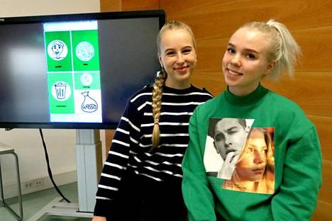 Hanna Seren (vasemmalla) ja Venla Maikola olivat mukana raumalais-virolaisessa yhteisyrityksessä, joka kehitti digitekniikan avustamaa jätehuoltoa.