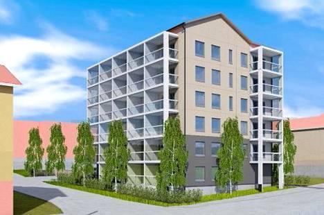 Uuden tontinkäyttösuunnitelman mukainen havainnekuva kerrostalosta, joka rakennettaisiin Korkeemäenkadulle.