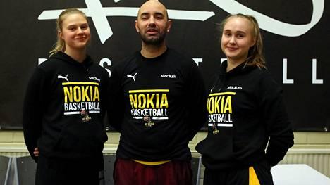 Viivi Niskanen ja Kaisa Pirttinen ovat BC Nokian naisten joukkueen omia kasvatteja. Denis Kucevic aloittaa kolmannen kautensa näätäpaitojen valmentajana. Tällä kaudella kolmikolla on ohjelmassa myös 19-vuotiaiden tyttöjen SM-sarjan ottelut.