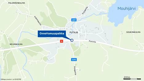 Onnettomuus sattui valtatiellä 11 Putajan ja Vesunnin välillä, hieman Putajantien risteyksen jälkeen Porista Tampereelle päin tultaessa.