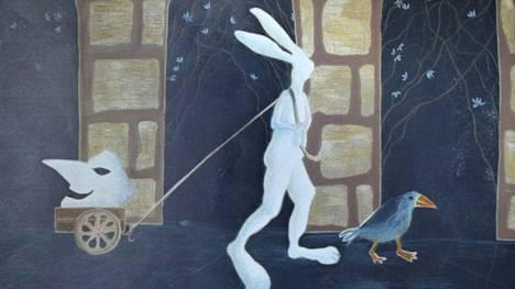 Graafikko Ulla Aatisen teoksissa esiintyy usein jänis kertomassa asioista, joista on vaikea puhua.