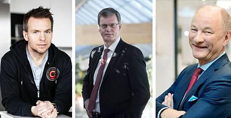 Yritysjohtajat Vincitin Mikko Kuitunen, Valmetin Pasi Laine ja Cargotecin Mika Vehviläinen.