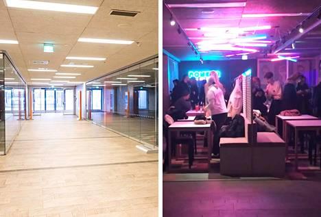 Vasemmalla kuva tyhjilleen jääneestä Foodstationista ja oikealla kuva torstai-iltana auenneesta Bonkerista.