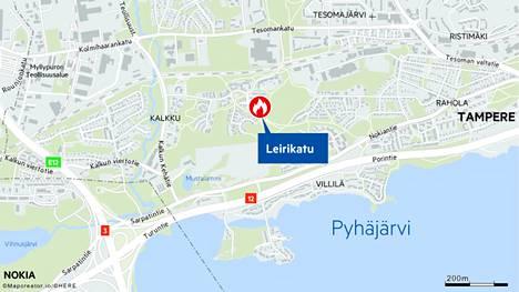 Palopaikka oli omakotitaloalueella Tampereen Kalkussa.