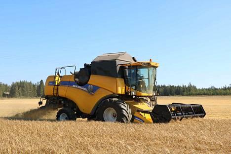 Tehokas New Holland -puimuri palvelee uskollisesti Juha Leivoa ja kahta muuta maanviljelijää.