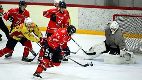 Miska Varjosaari (edessä) teki Pyryn toisen maalin viime viikonlopun ottelussa. Seuraava ottelu pelataan koronarajoitusten vuoksi näillä näkymin vasta vähän ennen joulua.