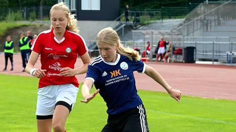 16-vuotias Tilda Pyykkönen iski kolme maalia kolme maalia Haka-j:tä vastaan.