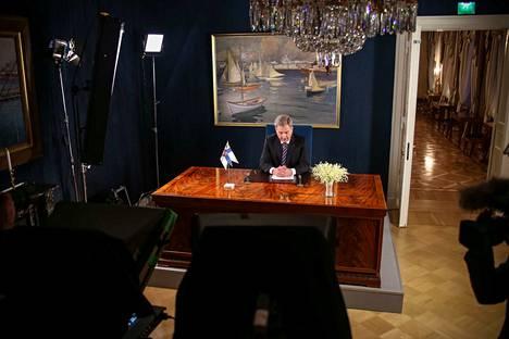 Tasavallan presidentti Sauli Niinistö pitää keskiviikkona uudenvuodenpuheensa, joka lähetetään televisiossa ja radiossa Ylen kanavilla. Arkistokuva vuodelta 2018.