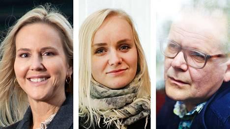 Camilla Grebe, Ringa Manner ja Kati Hotakainen esiintyvät Helsingin kirjamessuilla tänä vuonna virtuaalisesti.