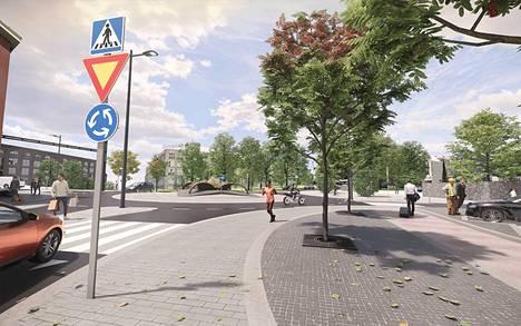 Tampereen keskuspaloaseman edustalle suunnitellun liikenneympyrän korotettu liittymäalue on Rongankadun ja Lapintien suuntaisesti noin 68 metriä ja Satakunnankadun suuntaisesti noin 72 metriä.