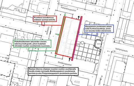 Karttakuva kauppatorin torirakennuksen purkutyömaasta.