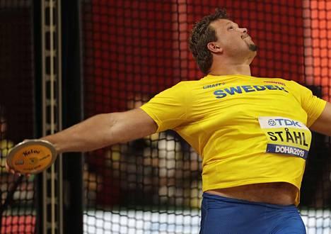 Ruotsalainen heitti lauantaina Qatarissa MM-karsintakilpailuissa pisimmän kaaren 67,88 metriä.