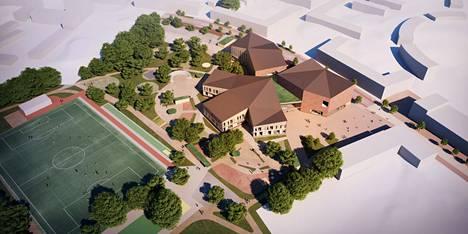 Tällaiselta uusi Lamminrahkan koulu näyttää arkkitehtikuvissa.