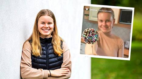 Sääksmäellä asuva Emma Tyynelä, 16, on yksi elämyspalvelua verkossa kauppaavista valkeakoskelaisista. Hän myy verkkokurssia, joka opettaa asiakasta leipomaan mokkasuklaakakkutikkareita.