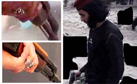 Mittavassa prosessissa pyrittiin selvittämään tämän videolla esiintyvän barettipäisen murhaajan henkilöllisyys. Hovioikeuden mukaan hän ei ole kumpikaan syytetyistä kaksosista. Vasemmalla ylhäällä on kuvakaappaus toiselta videolta ja poliisin rekonstruktiokuva, joiden avulla henkilöllisyyttä yritettiin selvittää. Aamulehti on mustannut kuvasta vainajat ja Isisin lipun.