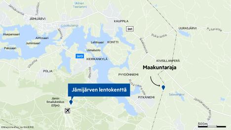 Jämijärven lentokenttä sijaitsee Satakunnan puolella Pirkanmaan ja Satakunnan rajan tuntumassa.