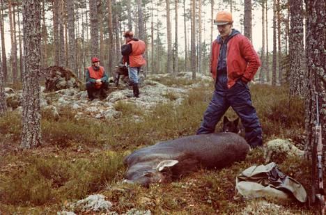 Jämin Erämies Harri Mäkelä ensimmäisellä hirvenkaadollaan 1980-luvulla. Jalkojen välistä kurkistaa metsästyskoira Turri. Taustalla Antti Rantala, Markku Niemi ja Juhani Hampaala.
