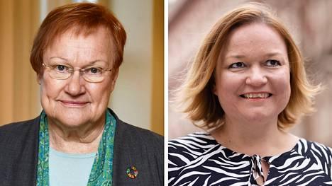 Presidentti Tarja Halonen (vas.) ja perhe- ja peruspalveluministeri Krista Kiuru.