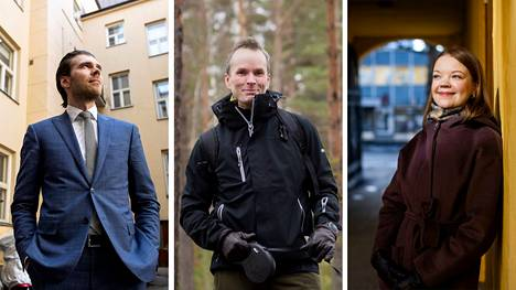 Aamulehden haastattelemat tamperelaiset asianajajat Aleksi Pakkanen (vas.), Janne Haapakari ja Anni Honka kertovat, millaista on vaativa arki lakialalla.