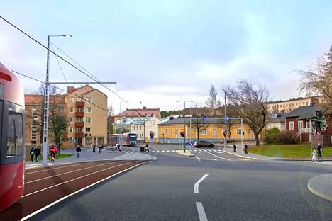 Kun Tampereen raitiotien toinen vaihe valmistuu, ratikka alkaa kulkea Pyynikintorilta kohti Lielahtea. Havainnekuvassa ratikka kulkee Sepänkatua.