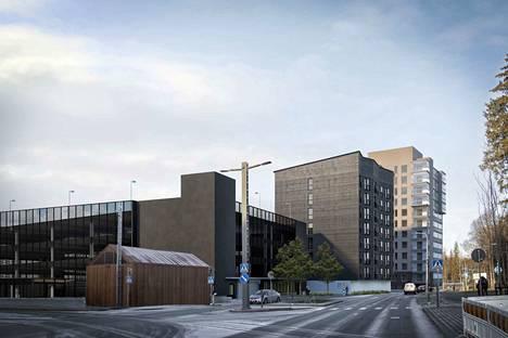 Toas suunnittelee puurakentamista muun muassa Kaupin kohteeseen Kuntokadun varrelle. Kuva on kaupunkikuvavaiheen visualisointi, ja suunnittelun edetessä julkisivuihin saattaa tulla vielä muutoksia.