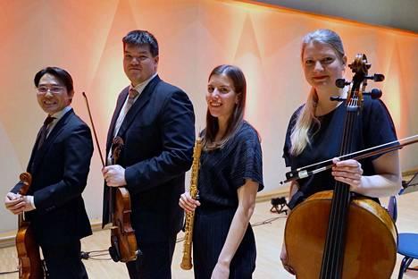 Pori Sinfoniettan Kesätuuli-kamarikonsertissa soittavat (vasemmalta) Kei Ito, Hokto Sorsa, Laura Lammi ja MagdalenaBüchert. Konsertissa kuullaan muun muassa Mozartin Oboekvartetto F-duuri.