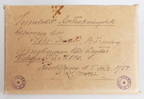 Rafael Mellinin vuonna 1958 lahjoittamassa kirjekuoressa lukee, että kuori sisältää muistikirjan ja sinetin saa murtaa aikaisintaan vuonna 2020.