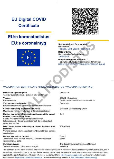 Tältä näyttää EU:n koronatodistus.