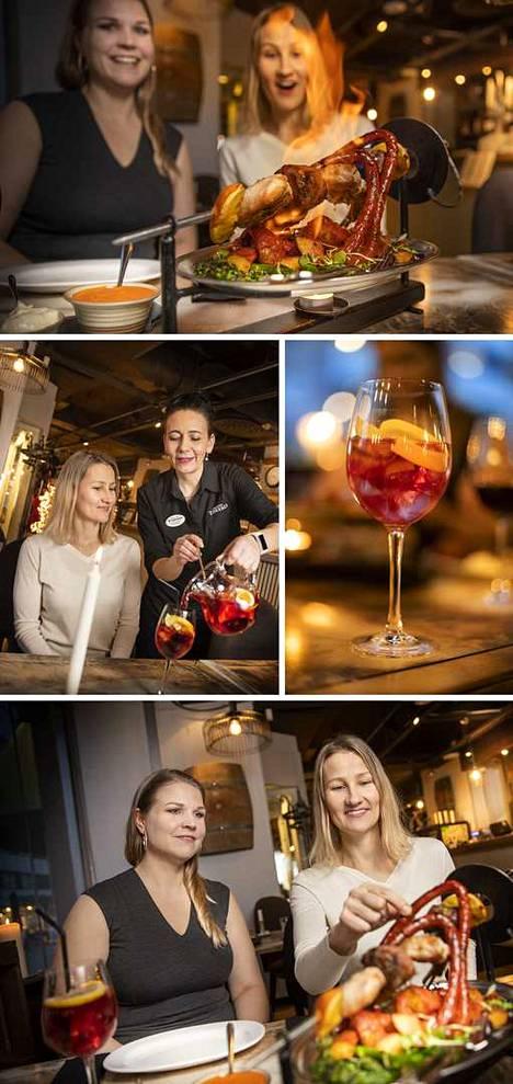 Toreron jaettavat social dining -annokset ovat suosittuja. Seurue voi maistella ristiin ja viettää päivää tai iltaa pitkän kaavan mukaan. Ystävänpunaista juomaa lasiin kaataa ravintolapäällikkö Greta Mäki.
