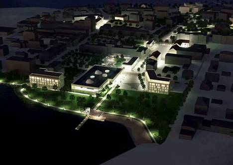 Sastamalan keskusta-alueen ideakilpailun voittaneessa ehdotuksessa uusi uimahalli on sijoitettu Pororantaan ja ympärille kerrostaloja.