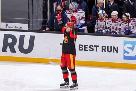 Suomi-sarjaa Porvoon Huntersissa pelaava Mika Partanen sai nimensä myös KHL-tilastoihin tekemällä Jokerein ainokaisen.