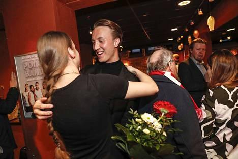 Kansanedustajana toista kautta jatkava Ilmari Nurminen, 28, oli yksi vaali-illan sankareista Tampereen työväentalolla.