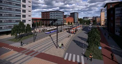 Tältä voi tulevaisuudessa näyttää Linnainmaan Citymarketin ympäristö. Marketti jää havainnekuvassa vasemalla kahden kerrostalon väliin.