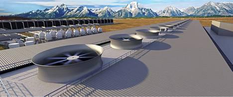 Havainnekuvassa kanadalaisen Carbon Engineeringin näkemys hiilidioksidia keräävästä laitteistosta.