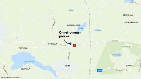Rekka ja henkilöauto kolaroivat Porintien ja Salmentien risteyksessä.